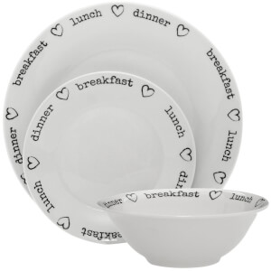 Premier Housewares 12 Piece Charm Dinner Set - Porcelain White