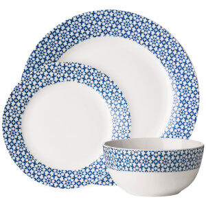 Premier Housewares 12 Piece Avie Casablanca Dinner Set - Blue Porcelain