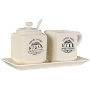 Premier Housewares Vintage Home Sugar and Milk Storage- Cream Ceramic