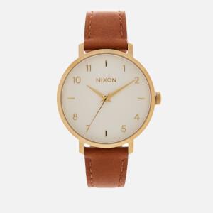 Nixon Women's The Arrow Leather Watch - Gold/White/Saddle