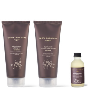 Grow Gorgeous Hair Growth Serum Intense, Density Shampoo Intense and Hyaluronic Density Conditioner (Worth £82)