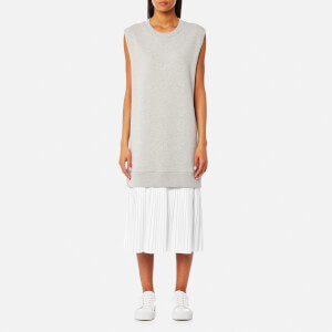 MM6 Maison Margiela Women's Sleeveless Sweatshirt Dress with Pleats - Grey Melange