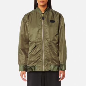 MM6 Maison Margiela Women's Nylon Bomber Jacket with Frill Detail - Military