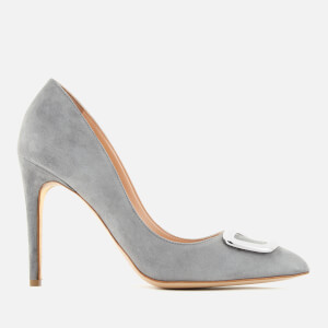 Rupert Sanderson Women's Malory O Pebble Suede Court Shoes - Smokey