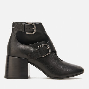 MM6 Maison Margiela Women's Double Buckle Heeled Ankle Boots - Black