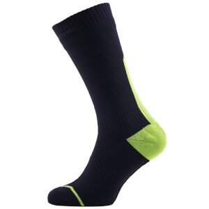 Sealskinz Road Thin Mid Socks with Hydrostop - Black/Yellow