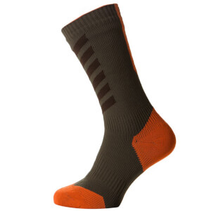 Sealskinz MTB Thin Mid Socks with Hydrostop - Olive/Orange