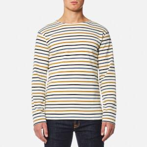 Armor Lux Men's 4 Stripe Long Sleeve Top - Nature/Acacia/Seal
