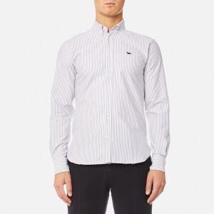 Maison Kitsuné Men's Oxford Stripe Fox Embroidery Classic Shirt BD - Burgundy Stripe