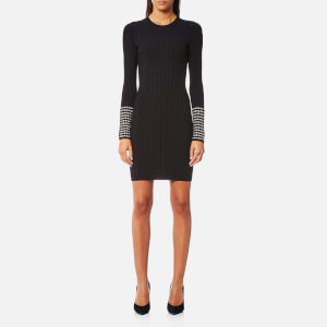 Alexander Wang Women's Long Sleeve Dress with Crystal Cuff Detail - Black