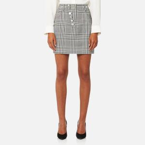 Alexander Wang Women's High Waisted Mini Skirt with Multi Snap Detail - Black/White
