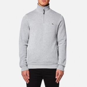 Lacoste Men's Quarter Zip Sweatshirt - Silver Chine/Navy Blue