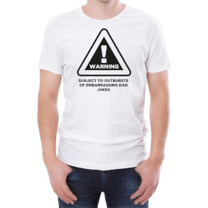 T-Shirt Homme Warning Dad Jokes -Blanc