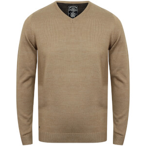 Kensington Men's Basic V Neck Jumper - Taupe Marl