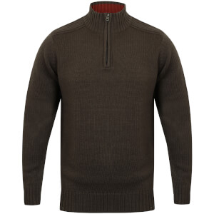 Kensington Men's Zip Down Jumper with Ribbed Detailing - Charcoal