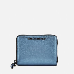 Karl Lagerfeld Women's K/Kool Small Zip Wallet - Metallic Light Blue