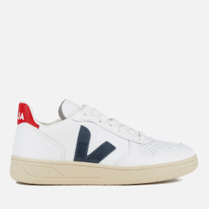 Veja Men's V-10 Leather Trainers - Extra White/Nautico/Pekin