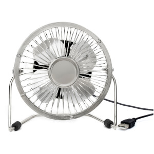 USB Metal Desk Fan - Silver