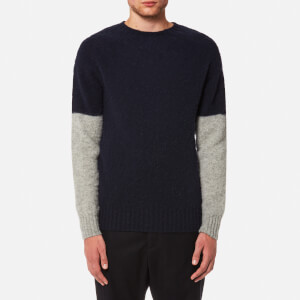 YMC Men's Skate or Die Brushed Crew Jumper - Navy/Silver