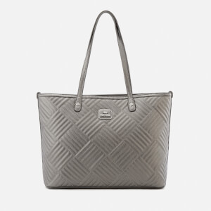 Love Moschino Women's Shiny Quilted Metallic Tote Bag - Pewter