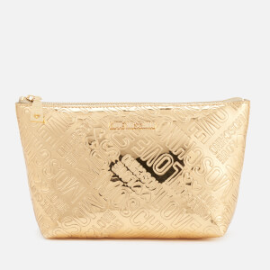 Love Moschino Women's Metallic Embossed Logo Cosmetic Bag - Gold