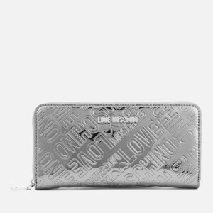 Love Moschino Women's Metallic Embossed Logo Zip Around Purse - Pewter