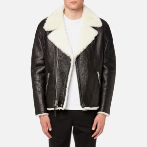 Coach 1941 Men's Shearling Moto Jacket - Black Antique White