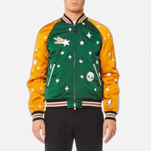 Coach 1941 Men's Souvenir Jacket Featuring Sundae - Emerald/Deep Clementine
