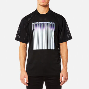 Alexander Wang Men's Athletic Mesh T-Shirt with Purple Chrome Barcode - Black