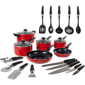 Morphy Richards 970051 Equip 6 Piece Pan Set with 14 Piece Tool Set - Red