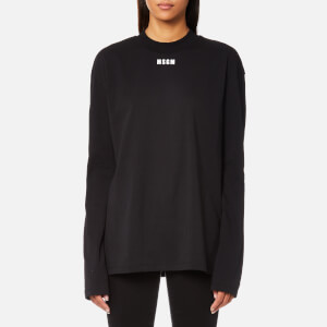 MSGM Women's High Neck Logo Long Sleeve Top - Black