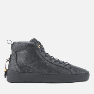 Android Homme Men's Alfa Cracked Leather Mid Top Trainers - Black