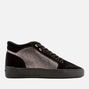 Android Homme Men's Propulsion Mid Snake Print Leather/Velvet Trainers - Black