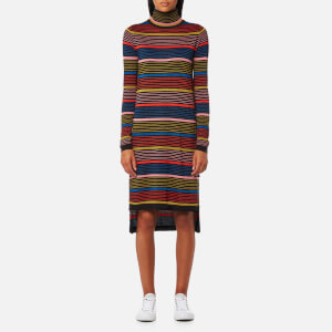 Maison Scotch Women's Turtleneck Knitted Lurex Dress - Combo A