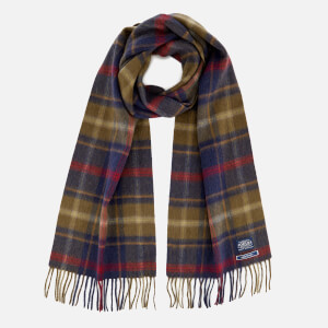 Joules Men's Wool Scarf - Fir Tree Green Check