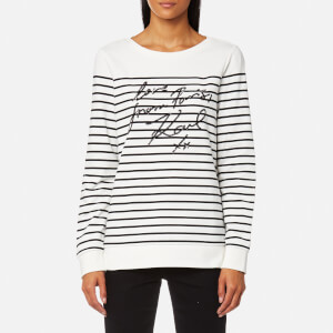 Karl Lagerfeld Women's Love From Paris Sequin Sweatshirt - White/Black