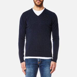 Hackett Men's Lambswool V Neck Jumper - Navy Melange