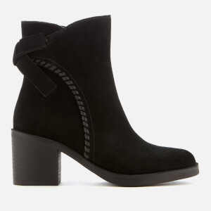 UGG Women's Fraise Whipstitch Suede Heeled Ankle Boots - Black