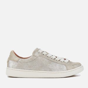 UGG Women's Milo Stardust Metallic Suede Cupsole Trainers - Silver