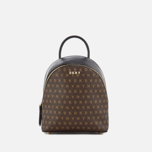 DKNY Women's Coated Logo Mini Backpack - Brown Logo
