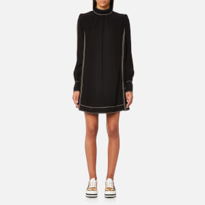 Marc Jacobs Women's Mock Neck Long Sleeve Shift Dress - Black