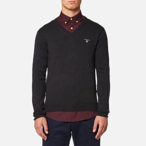 GANT Men's Cotton Wool Mix V Neck Knitted Jumper - Dark Charcoal Melange