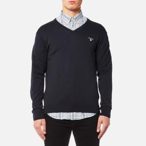 GANT Men's Cotton Wool Mix V Neck Knitted Jumper - Navy