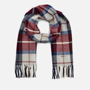 GANT Men's Check Lambswool Scarf - Purple Wine