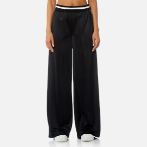 DKNY Sport Women's Track Stripe and Flocked Logo Wide Leg Pants - Black