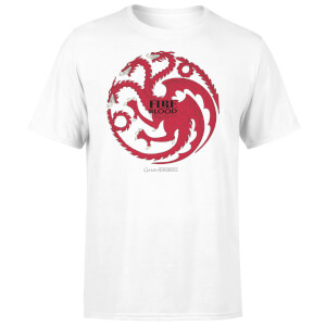 T-Shirt Homme Game of Thrones Targaryen Fire and Blood - Blanc
