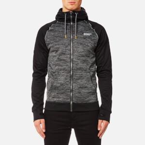 Superdry Sport Men's Raglan Training Zip Through Hoody - Charcoal Grit/Black