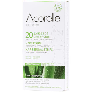Acorelle Ready to Use Aloe Vera and Beeswax Underarms and Bikini Strips - 20 Strips