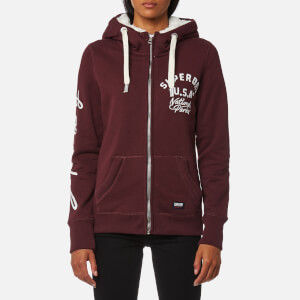 Superdry Women's Appliqué Zip Hoody - Egerie Burgundy