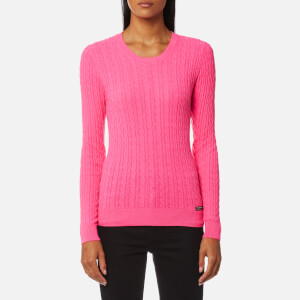 Superdry Women's Luxe Mini Cable Knitted Jumper - Fluro Pink